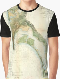 Vintage Map of The San Diego Bay (1857) Graphic T-Shirt