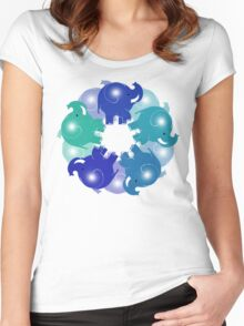 BABY ELEPHANTS BLUE Women's Fitted Scoop T-Shirt