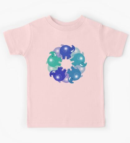 BABY ELEPHANTS BLUE Kids Tee