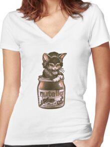 Kitten <3 Nutella Women's Fitted V-Neck T-Shirt