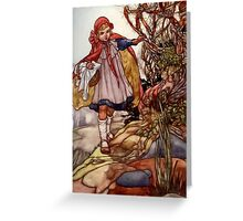 """""""Little Red Riding"""" by Charles Robinson Greeting Card"""