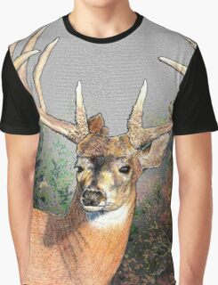 Hand drawn deer in the woods Graphic T-Shirt