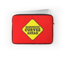 BEWARE yellow road dangerous curves ahead warning sign (roughly rounded type) Laptop Sleeve