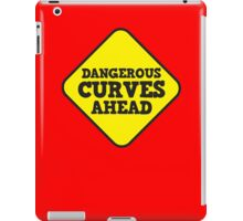 BEWARE yellow road dangerous curves ahead warning sign (roughly rounded type) iPad Case/Skin