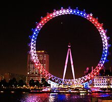 London Eye in Union Jack Lighting Scheme by chaucheong