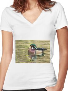 Wood Duck Women's Fitted V-Neck T-Shirt