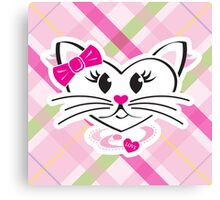 HeartKitty Plaid Love Cat Canvas Print