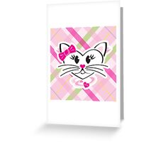HeartKitty Plaid Love Cat Greeting Card