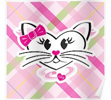 HeartKitty Plaid Love Cat Poster