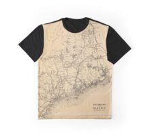 Vintage Map of Maine (1894) Graphic T-Shirt