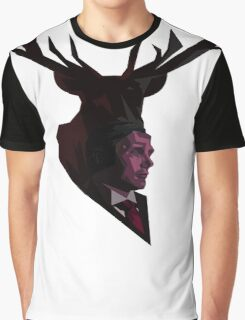 The Stag - White Graphic T-Shirt