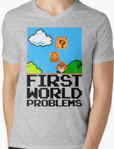 First World Problems (Black) Mens V-Neck T-Shirt