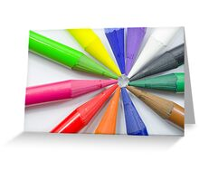 Woodless Colored Pencil Heads Macro Closeup Greeting Card