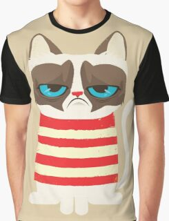 Grumpy Cat with Red Sweater Graphic T-Shirt