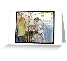 Two Men in Conversation Not Looking at Each Other Greeting Card