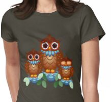 Three Alert Little Owls Womens Fitted T-Shirt