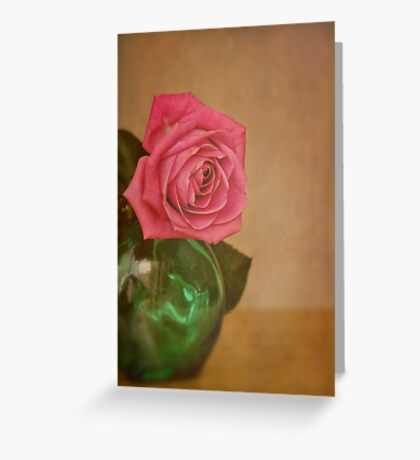 Rose and green glass Greeting Card