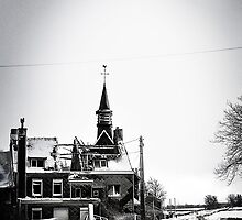 A battered church on a winter's road by Remco den Hollander