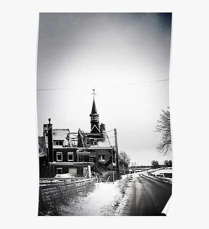A battered church on a winter's road Poster