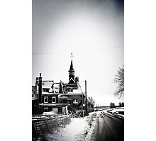 A battered church on a winter's road Photographic Print