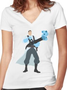 TF2 BLU Medic Women's Fitted V-Neck T-Shirt