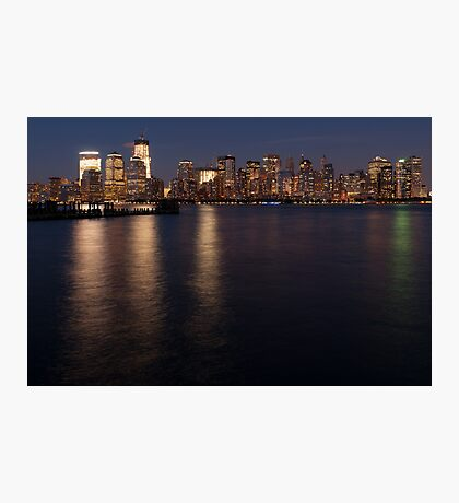 Lower Manhattan at night. Photographic Print