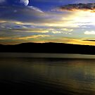 Moon Over The Reservoir At Sunset by Jane Neill-Hancock