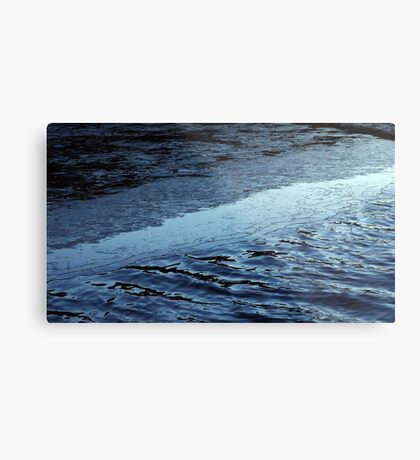 first ice on winter day in park on pond  Metal Print