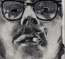 chuck close up close (ink)  by cheeseburgerLV