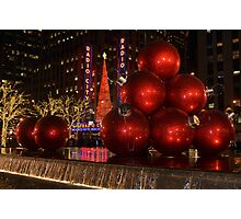 New York city at night during Christmas holiday 1 Photographic Print