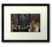 Rockefeller Christmas tree and ice skating rink pictured on December 19, 2011  Framed Print