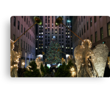 Rockefeller Christmas tree and ice skating rink pictured on December 19, 2011  Canvas Print