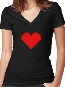 Pixel Heart- Red Women's Fitted V-Neck T-Shirt