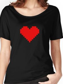 Pixel Heart- Red Women's Relaxed Fit T-Shirt