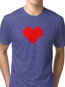 Pixel Heart- Red Tri-blend T-Shirt