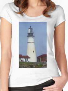 Lighthouse - Portland Head, Maine Women's Fitted Scoop T-Shirt