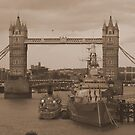 Tower Bridge and HMS Belfast  by chaucheong