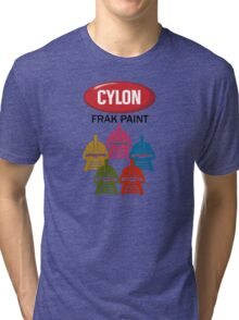 Cylon Frak Paint Tri-blend T-Shirt