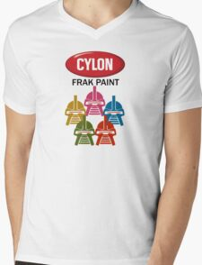 Cylon Frak Paint Mens V-Neck T-Shirt