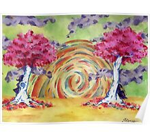 Twin Tree Sunset Poster