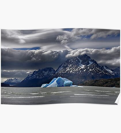 Iceberg, Mountains and Sky Poster