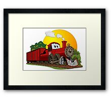 Red Cartoon Steam Engine Framed Print