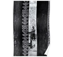 African boy in courtyard Stone Town Poster