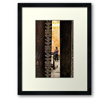 African boy in courtyard Stone Town Framed Print