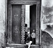 Three African kids Stonetown Zanzibar by Amyn Nasser