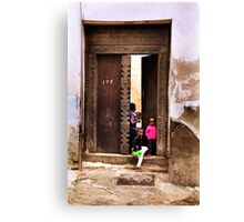 Three African kids Zanzibar Canvas Print