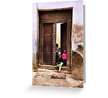 Three African kids Zanzibar Greeting Card