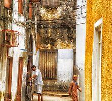 Kids in Stone Town Alley by Amyn Nasser
