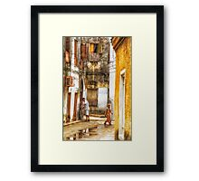 Kids in Stone Town Alley Framed Print
