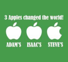 3 Apples Changed The World - Tribute - Steven/Steve Jobs R.I.P One Piece - Short Sleeve